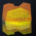 Meleg belső blokk, 2013. 100x100cm,akril,vászon  – Warm inner block, 2013. 100x100cm, acrylic on canvas