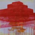 Vörös fiktív tükröződés, 2013. 100x100cm, akril,vászon  – Red fictional reflection, 2013. 100x100cm, acrylic on canvas